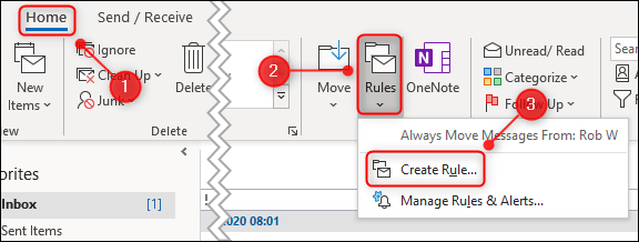 """The """"Rules"""" menu with """"Create Rule"""" highlighted."""
