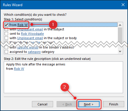 """The Rules Wizard with the """"From"""" condition highlighted."""