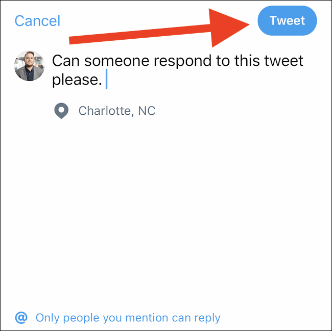 "Compose a message and then tap the ""Tweet"" button"