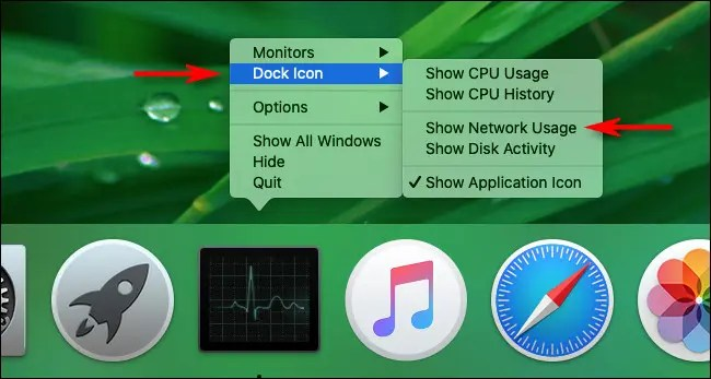 """Select """"Show Network Usage"""" in Mac Activity Monitor Dock Options"""