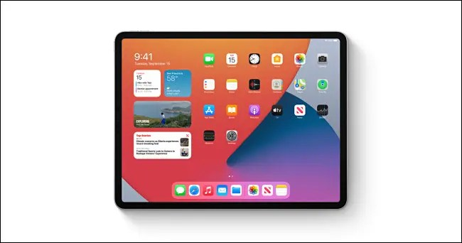 An Apple iPad running iPadOS 14