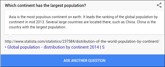 A fun fact about continent population in Google.