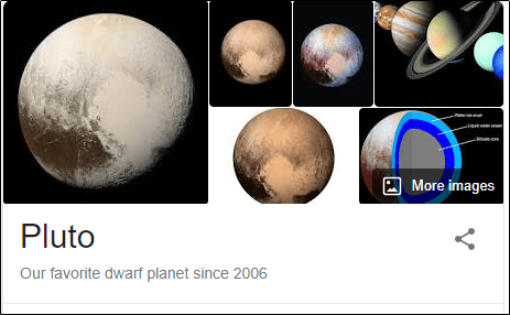 """Search results for """"Pluto"""" in Google Search."""