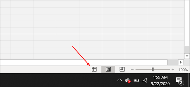 "Click the ""Normal"" page layout button in Excel"