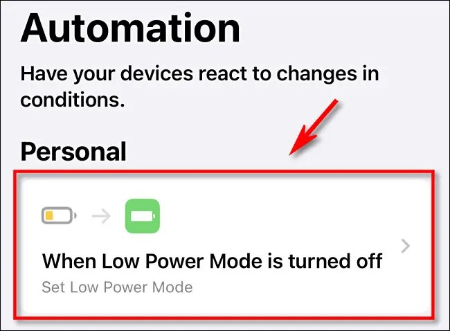Tap the automation from the list to select it.