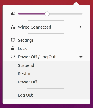 """The """"Restart"""" option in the System menu on GNOME 3.38.0."""