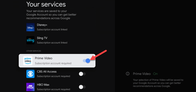toggle services on or off