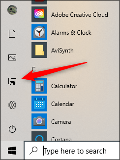 Click the File Explorer icon to launch it from the Start menu.