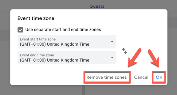"""Click """"Remove Time Zones"""" to remove time zones from a Google Calendar event, or """"OK"""" to save them."""