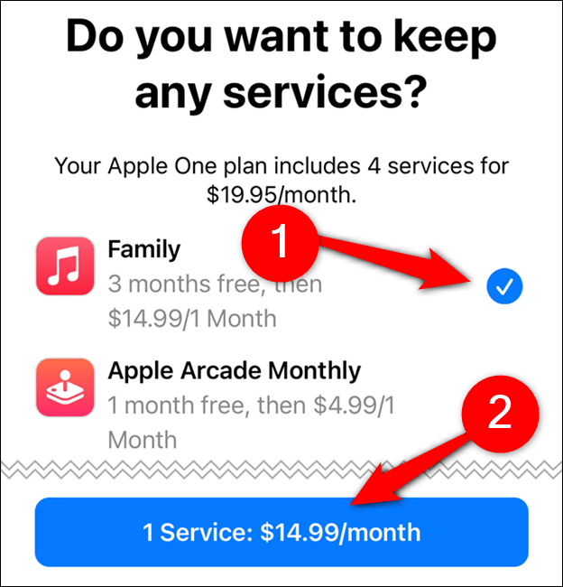 Choose which services you want to keep