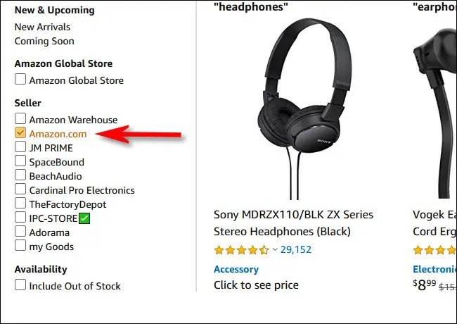 """Place a check mark beside """"Amazon.com"""" in the seller section of the sidebar"""