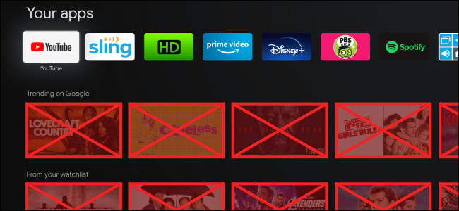 The Google TV interface with recommendations crossed out