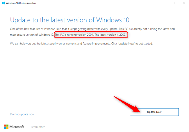 """Click """"Update Now"""" in the Windows 10 Update Assistant."""
