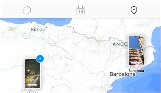 Two Instagram stories in different locations of Spain in the map view.