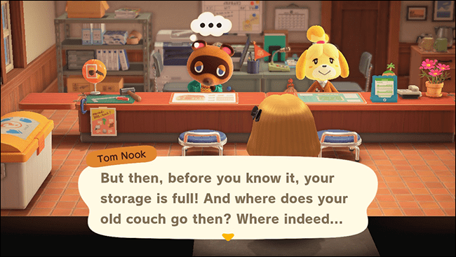 "Tom Nook telling characters about the storage upgrade in ""Animal Crossing: New Horizons."""