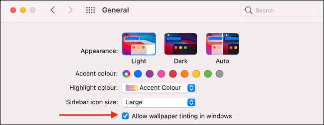 Click to Disable Window Tinting on Mac