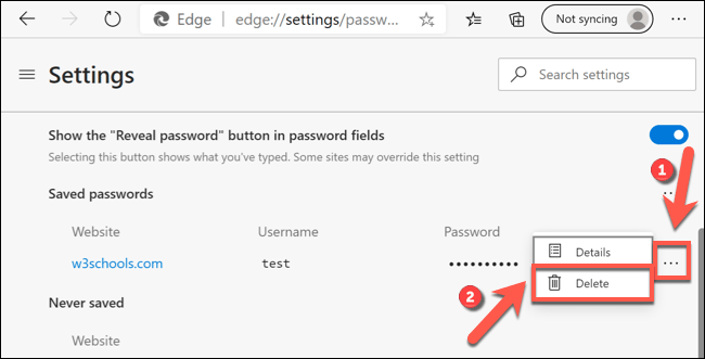 "Click the three-dots menu icon next to a saved password entry, then press the ""Delete"" option."