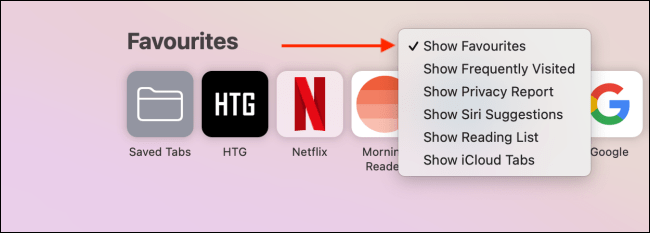 Quickly Show or Hide a Safari Start Page Section