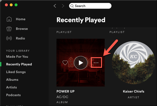 """Hover over an icon in the """"Recently Played"""" list, then press the three-dots menu icon."""