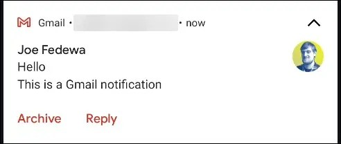 The Default options in a Gmail notification.