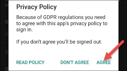 """Tap """"Agree"""" after you read the Privacy Policy."""