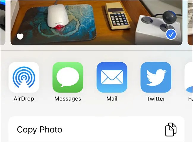 An example of the Share sheet on iPhone without the contact suggestions.