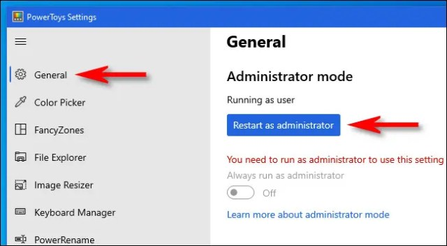 "Please click ""general,"" then click ""Restart as an administrator."""