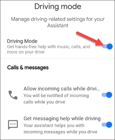 toggle driving mode on