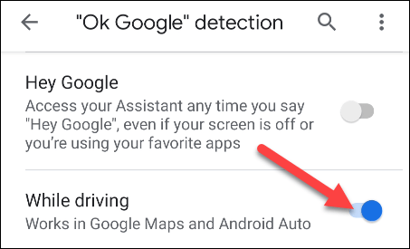 allow ok google detection while driving