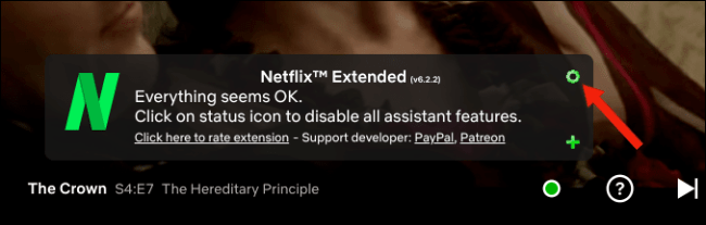 Click the gear settings icon on Netflix Extended