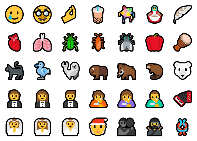 Some new emoji for Unicode 12.1 and 13.0 on Windows 10.