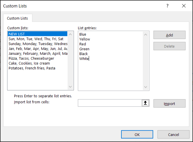 Type each list item and click Add