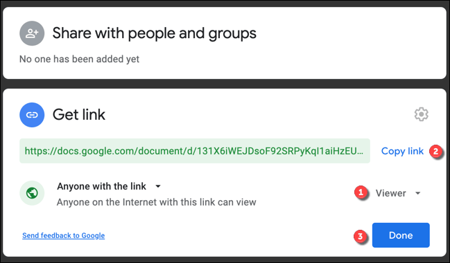 """Set the link viewer options to """"Viewer."""" Press """"Copy Link"""" to copy the link, then press """"Done"""" to save the settings."""