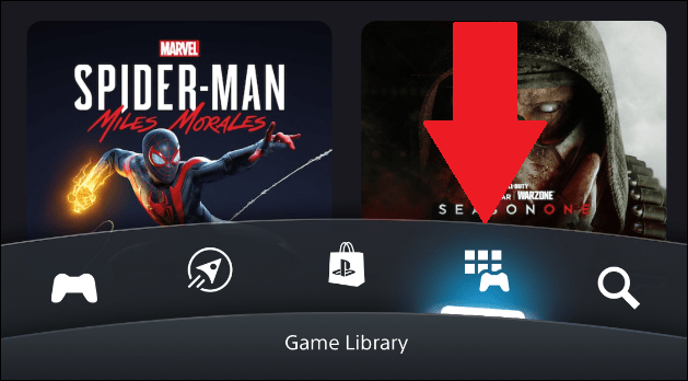 PlayStation app library in the mobile app