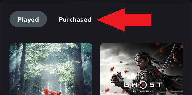 purchased games in the ps5 app library