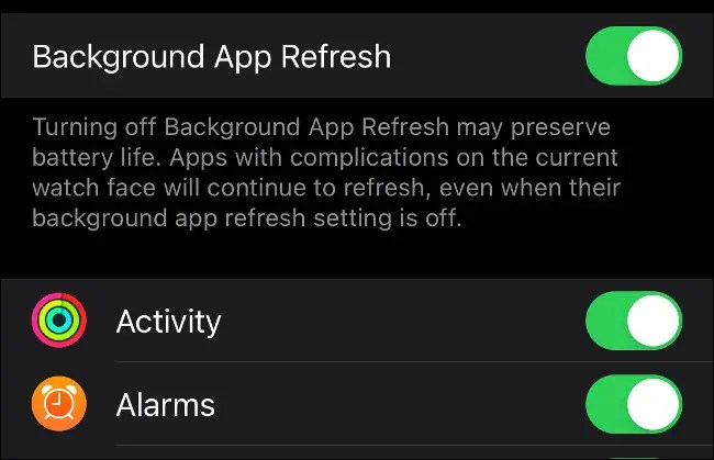 Disable Background App Refresh on Apple Watch