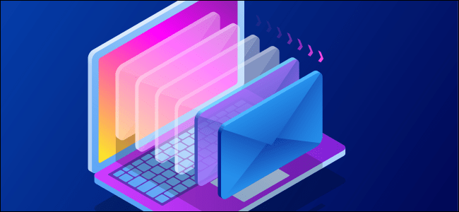 An illustration of emails on a laptop.