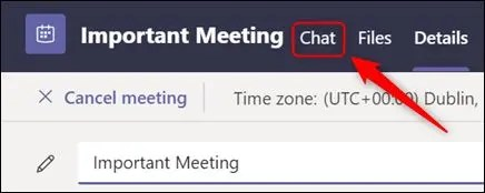 """The """"Chat"""" tab in the meeting details."""