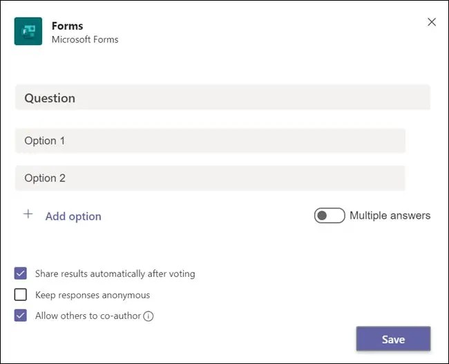 """The """"Forms"""" panel before a question is added."""