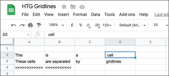 Example cells in a Google Sheets spreadsheet with gridlines enabled.