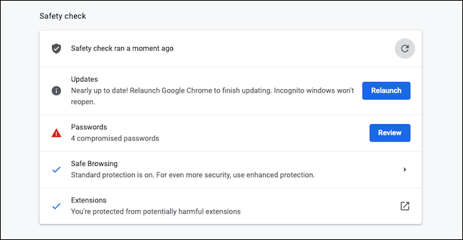 Run the security check in Google Chrome
