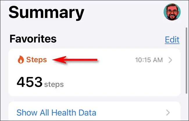 """In the Health app, tap """"Steps."""""""