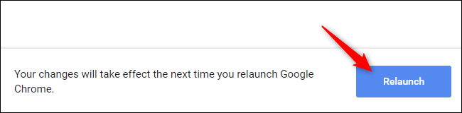 """Click the """"Relaunch"""" button in Chrome."""