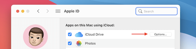 Click Options from iCloud Drive