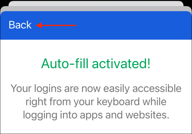 Tap Back Button After Authenticating