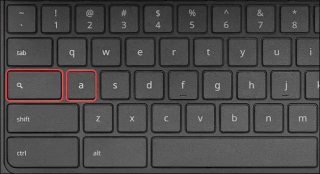 Acer Chromebook keyboard with Search+a highlighted