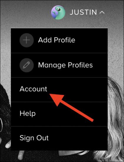 "Click the ""Account"" option"
