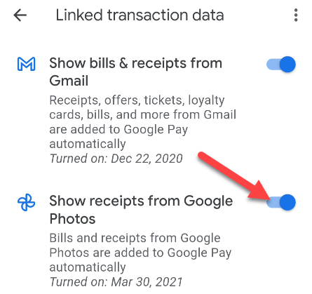 toggle on gmail and/or Google photos