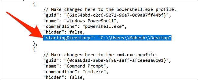 Reset the default directory in Windows Terminal