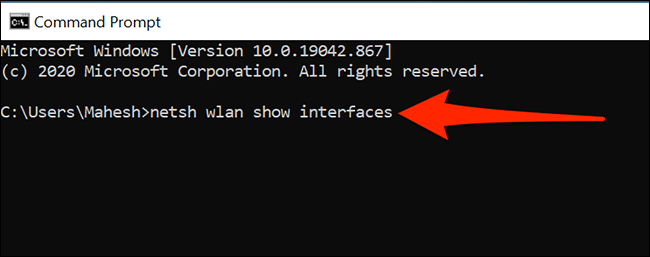 Find Wi-Fi information using the Command Prompt